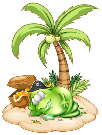 Illustration of a sleeping pirate monster under the coconut tree on a white background Illustration