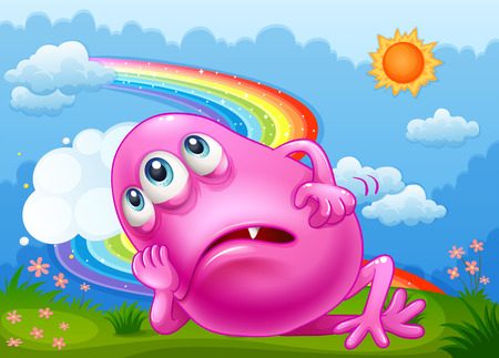 hilltop: Illustration of a tired pink monster at the hilltop with a rainbow in the sky