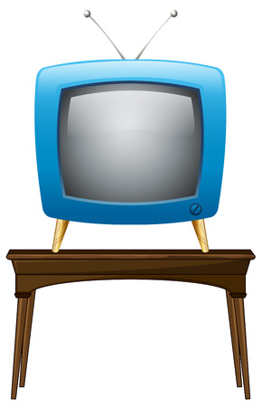 Illustration of a blue television above the wooden table on a white background Vector