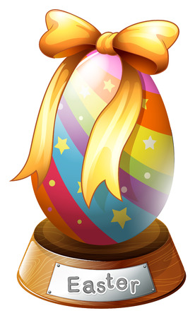 creative egg painting: Illustration of an Easter egg trophy on a white background Illustration