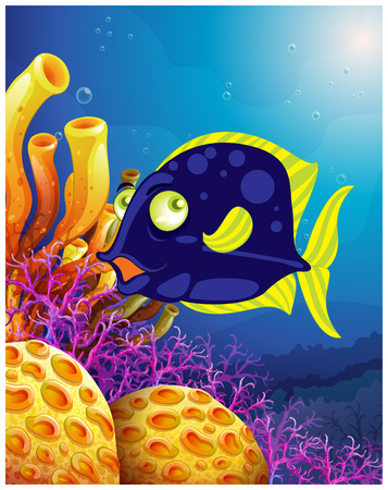 sanctuaries: Illustration of a fish near the beautiful corals on a white background