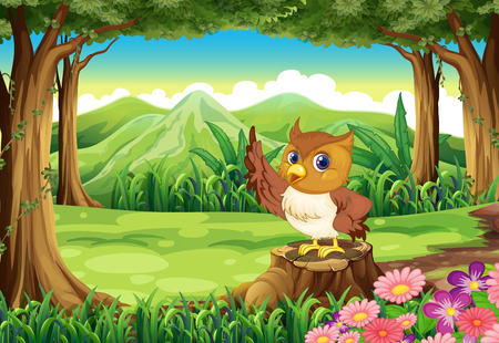 Illustration of an owl at the forest Vector