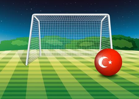 terrain foot: Illustration d'une balle sur le terrain de football avec le drapeau de la Turquie