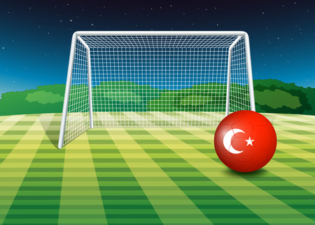 Illustration of a ball at the soccer field with the flag of Turkey Vector