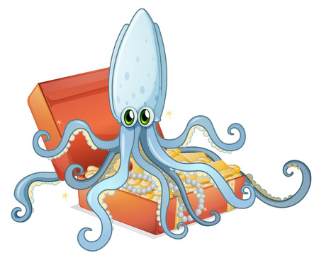 Illustration of a treasure box with an octopus on a white background Vector