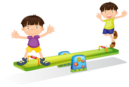 Illustration of the kids playing with the seesaw on a white background Vector