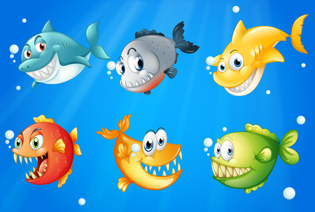 Illustration of the six colorful fishes under the deep sea Vector