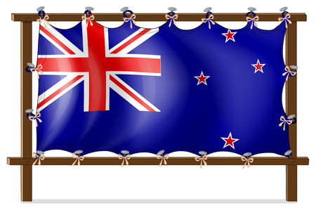 newzealand: Illustration of the flag of New Zealand tied to a wooden frame on a white background