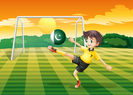 Illustration of an athlete kicking the ball with the flag of Pakistan Vector