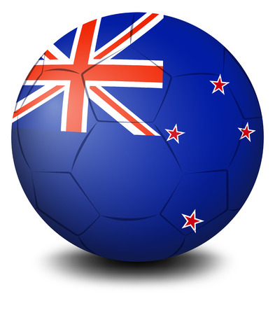 Illustration of a soccer ball with the flag of New Zealand on a white background