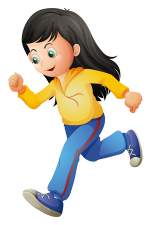 running pants: Illustration of a cute lady running on a white background