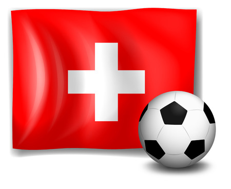 footwork: Illustration of the flag of Switzerland at the back of a soccer ball on a white background