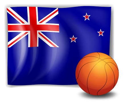 Illustration of a ball in front of the flag of New Zealand on a white background