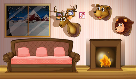 hot seat: Illustration of a living room with stuffed head decorations