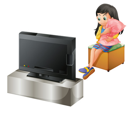 watching movie: Illustration of a young girl hugging a pillow while watching TV on a white background