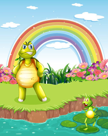 Illustration of a turtle and a frog at the pond with a rainbow in the sky Vector