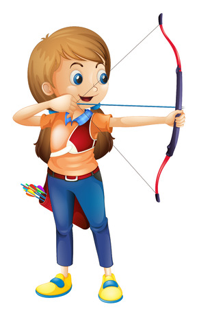 archer cartoon: Illustration of a young lady playing archery on a white background