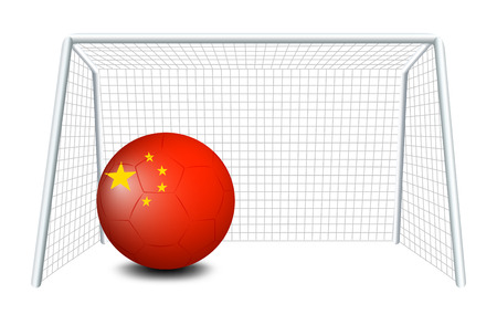 Illustration of a soccer ball with the flag of China on a white background Vector
