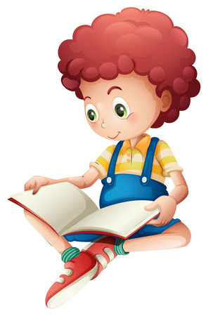 Illustration of a young boy reading on a white background Vector