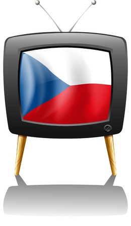 Illustration of the flag of Czech Republic inside the television on a white background Vector