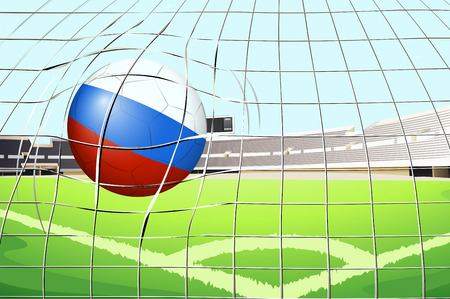 soccer stadium: Illustration of a soccer ball with the flag of Russia hitting a goal