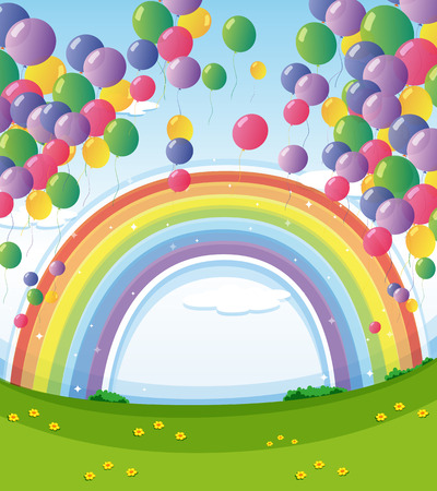 Illustration of a sky with a rainbow and a group of floating balloons Vector