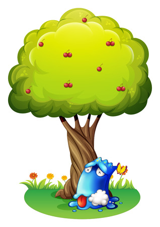 poisoned: Illustration of a poisoned blue monster under the tree on a white background Illustration