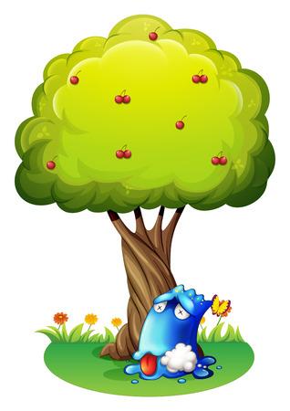poisoned: Illustration of a poisoned blue monster under the tree on a white background Illustration