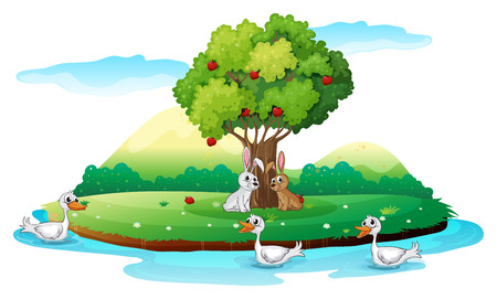 cartoon land: Illustration of an island with animals on a white background