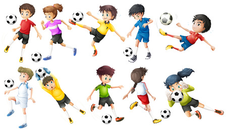 Illustration of the soccer players on a white background Ilustração