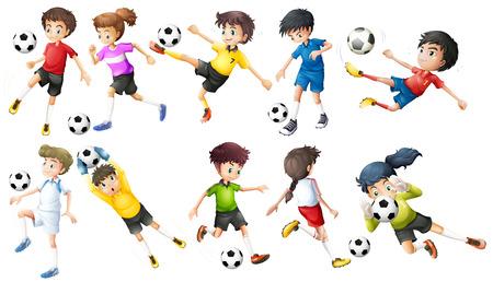 futbol soccer dibujos: Ilustración de los jugadores de fútbol sobre un fondo blanco