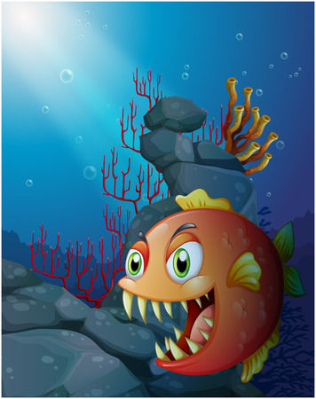 Illustration of a scary piranha under the sea near the rocks on a white background Vector