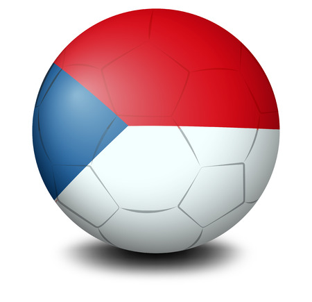 Illustration of a soccer ball with the flag of Czech Republic on a white background Vector