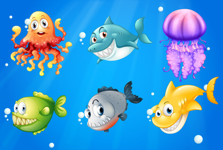 Illustration of a deep ocean with smiling creatures Vector