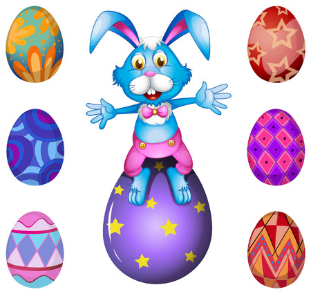 oblong: Illustration of a bunny above the Easter egg on a white background