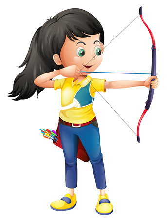 girls with bows: Illustration of a young girl playing archery on a white background Illustration