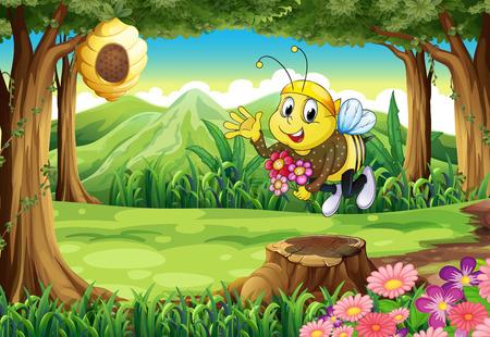 Illustration von einer Biene am Wald mit Blumen Standard-Bild - 26435212