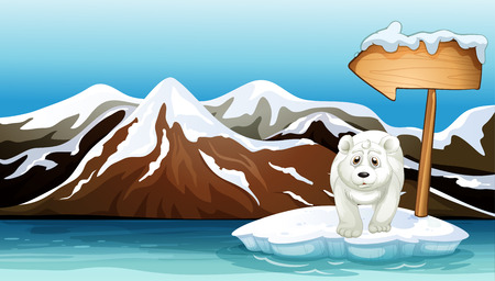 Illustration of a polar bear above the iceberg with a signboard Illustration