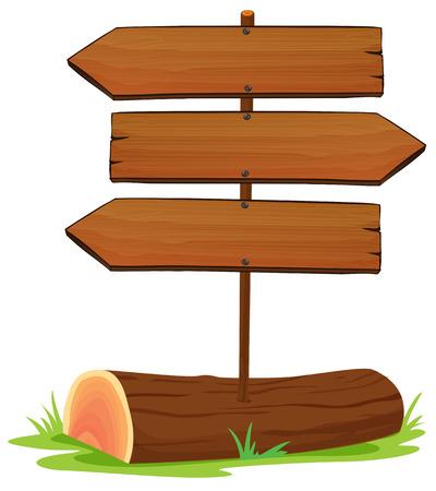 Illustratie van de houten arrowboards op een witte achtergrond Vector Illustratie