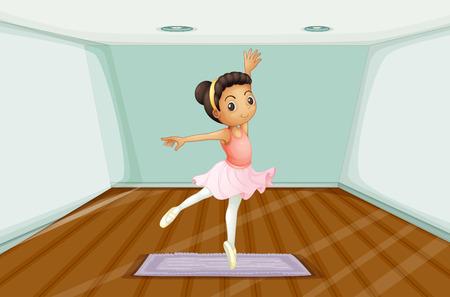 Illustration of a young ballet dancer dancing above the rug Illustration