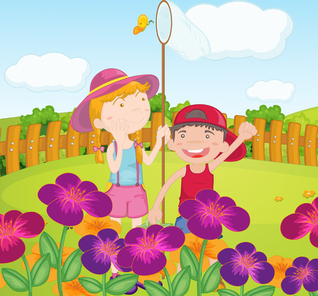 Illustration of the kids catching butterflies at the garden Vector