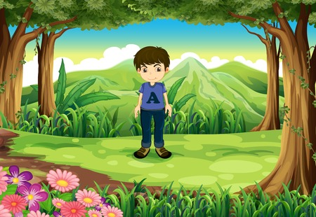 timid: Illustration of a timid young boy at the forest