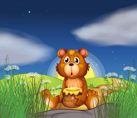 Illustration of a bear at the hilltop holding a pot of honey Vector