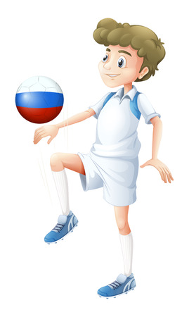 kicking ball: Illustration of a soccer player from Russia on a white background Illustration
