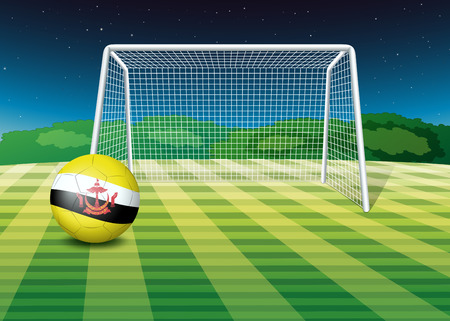 Illustration of a soccer ball with the flag of Brunei Vector