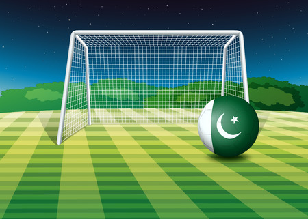 footwork: Illustration of a soccer ball with the Pakistan flag