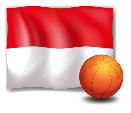 basketball ball: Illustration of the flag of Monaco at the back of a ball on a white background