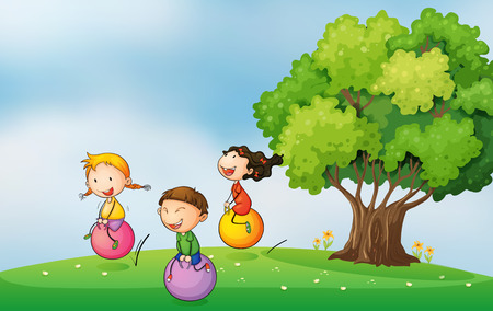 bouncing: Illustration of the three kids at the hilltop playing with the bouncing balls