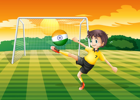 Illustration of a girl kicking the ball with the Indian flag Vector