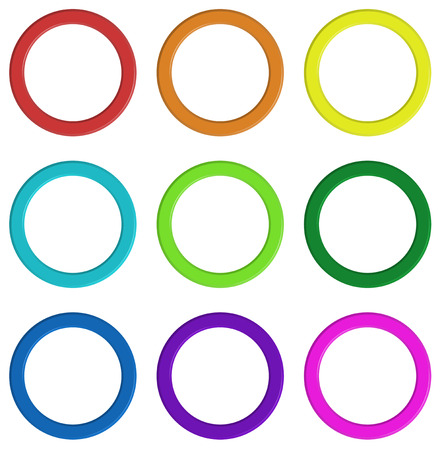 fuschia: Illustration of the nine colorful rings on a white background